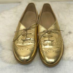 Julia Bo Custom Gold Metallic Lace Up Oxfords Flat
